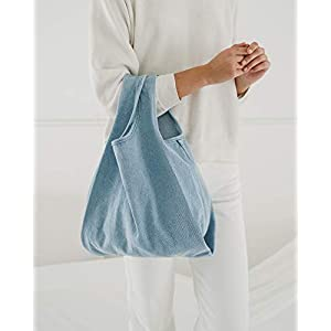 BAGGU Medium Reusable Shopping Bag, Eco-Friendly Foldable Grocery Tote or Lunch Bag, Light Denim