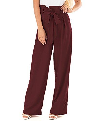 CNFIO Pantalon Large Femme Pantalon Femmes Taille Haute Pantalons Fluide Chic Femme Pantalon Droit Decoration avec Ceinture, A- Rouge, S