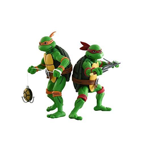 NECA Teenage Mutant Ninja Turtles Raphael and Michelangelo (Classic Cartoon) 7 Action Figure 2 Pack Target Exclusive