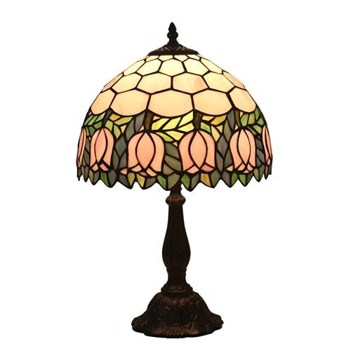 DIMPLEYA Lámpara de Mesa barroca Mesa de Lectura Luz Tiffany Manchado Escritorio Luz Pink Tulip Flores para la Sala de Estar Antigua Cama de Noche Mesa Arte Artesanía Regalos