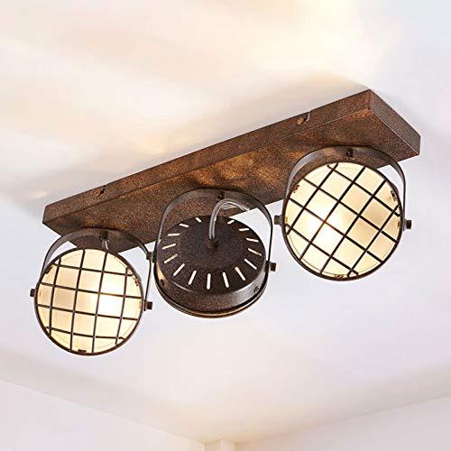 Lindby LED Deckenlampe 'Tamin' dimmbar (Vintage, Industriell) in Braun aus Metall u.a. für Wohnzimmer & Esszimmer (3 flammig, G9, A+, inkl. Leuchtmittel) - Deckenleuchte, Wandleuchte, Strahler, Spot