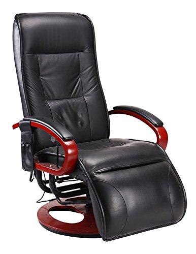 Mendler Relaxliege Arles II, Relaxsessel Massagesessel, MIT Massage ~ Leder, schwarz