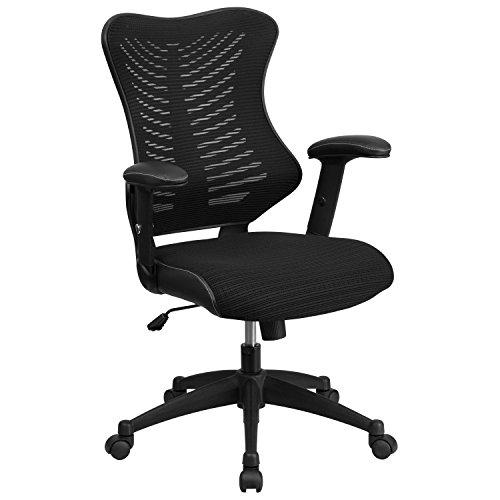 Flash Furniture High Back Designer Black Mesh Executive Swivel Chair with Adjustable Arms - BL-ZP-806-BK-GG