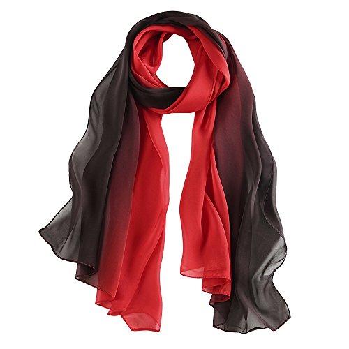 "LEIDAI pañuelo de seda Mujer 100% seda Mantón Bufanda Moda Chals Señoras Elegante Estolas Fular 70"" x 25.6'' (Negro, 70"" x 25.6'')"