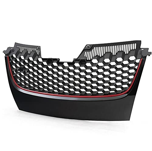 Mesh Center Bumper Grille Grill Replacement For Volkswagen 2006-2009 VW GTI Gli MK5 Hex Red Strip Badgeless