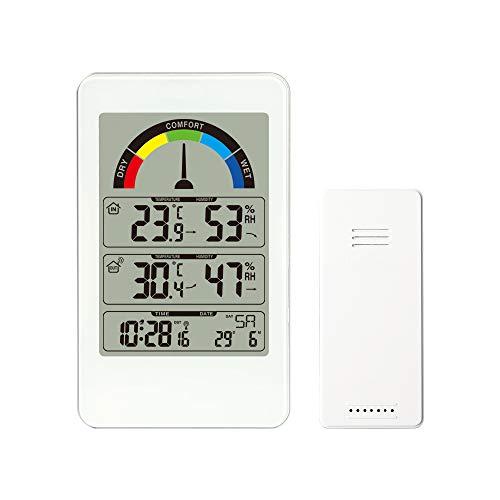 Houkiper Estación meteorológica del Reloj de Pared con termómetro Digital y Sensor...