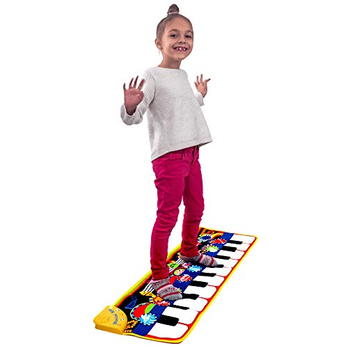 "Piano Mat for Kids, Toddlers, Infants - Portable Floor Piano Mat with 10 Keys, 8 Instrumental Sounds, Recording and Playback - Fun Step and Play Musical Dance Mat (Large 43.3"" x 14.2"") by Quill Games"