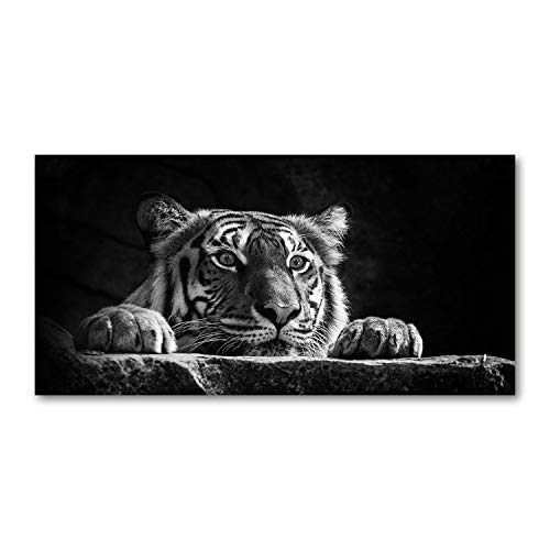 Tulup - Quadro su Vetro - Arte Digitale - Stampa su Vetro - Quadro in Vetro - Artistica - Immagine Decorativo - Cucina e Soggiorno - 140x70 cm - Animali - Nero Bianco - Tigre