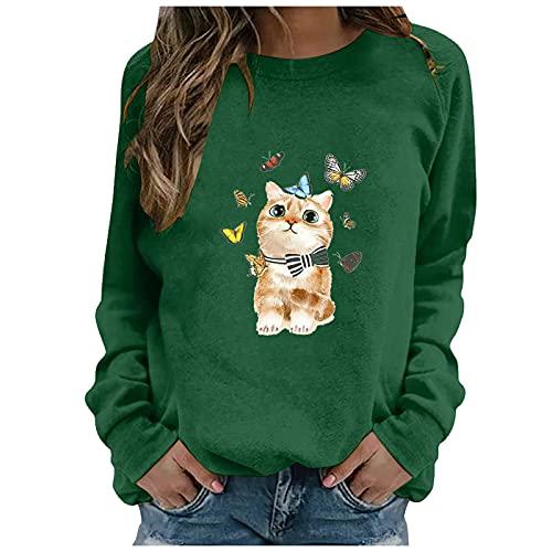 Sudadera Camiseta de Manga Larga Cuello Redondo para Mujer, Suelta Blusa Tops Tallas Grandes Estampado de Dibujos Animados Camisa Básica Clásico Oficina Superiores Otoño Invierno (L Verde, XXL)