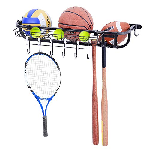 Mythinglogic Garage Sports Equipment Organizer,Wall Mounted Ball Storage Racks for Garage,Ball Holder for Sports Gear, Ball Storage with Baskets and Hooks