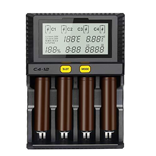 IOIOA Smart Battery 18650 26650 Fast Charger 4-Slot LCD Screen 3.0A/Slot Total 12A for Li-Ion/IMR/INR/ICR/Ni PK Liitokala500