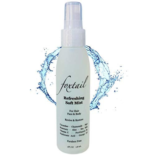 FOXTAIL Refreshing Soft Mist - 3-in-1 Quick Hydration Mist for Hair, Face, Body - 15 Second Refresh - Featuring 10 Botanical Extracts - Cucumber, Aloe, Hyaluronic Acid, Vitamin C, ProVitamin B5 - Paraben Free, 4 Fl Oz
