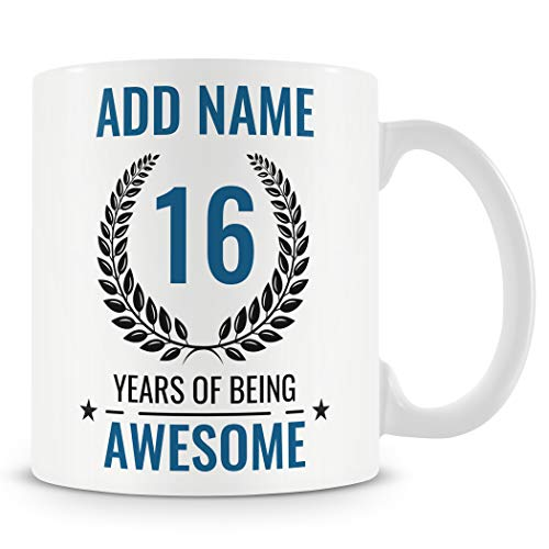 16th Birthday Gift for Boys - Personalised Mug/Cup - Add Name - 16 Years of...