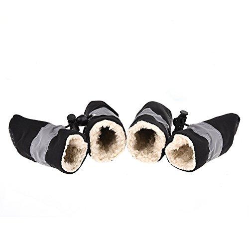 Jannyshop 4PCS-Set Winter Hundeschuhe Warm Pfotenschutz mit Fleece Haustierschuhe Anti-Rutsch für kleine mittlere und große Hunde Katzen 2/3/4/5