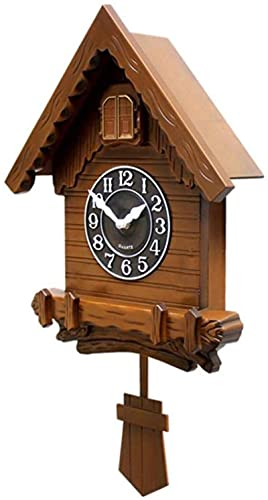 Reloj de Pared de Cuco, Reloj de Pared Moderno con péndulo, Voces de Aves Naturales o Llamadas de Cuco, decoración del hogar diseño Natural Simple, Blanco a