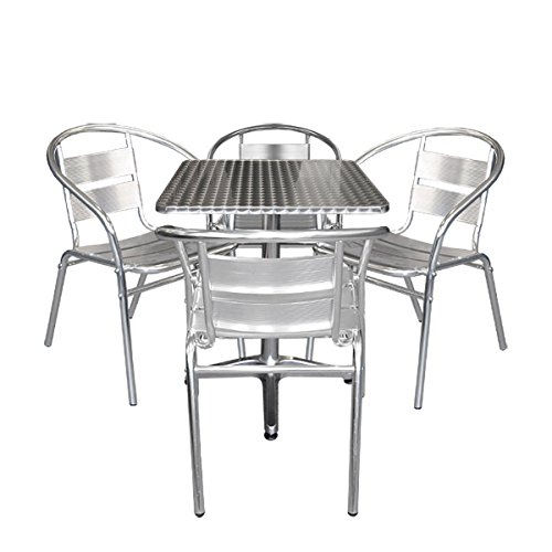 Multistore 2002 5tlg. Aluminium Bistromöbel-Set Bistrotisch, Aluminium, Tischplatte in Schleifoptik, 60x60cm, Niveauausgleich + 4X Alu Stapelstuhl, Bistrostuhl