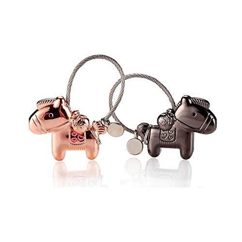Cojoy Pferd Form Liebhaber Schlüsselanhänger, 1 Paar Zinklegierung Anhänger mit magnetischem Mund, Paar Schlüsselbund Geschenk für Geburtstag, Hochzeit, Weihnachten, Schwarz und Rosegold Farbe