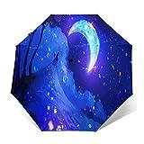 TISAGUER Regenschirm Taschenschirm,Nacht Mond Mond Strahlen Katzenlandschaft Digitale Digitale Kunstwolken,Auf Zu Automatik,windsicher,stabil