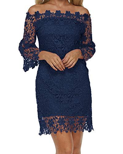 Auxo Damen Schulterfreie Langarm Kleider mit Spitze Elegant Blumen Kurz Abend Etuikleid Marine EU 36/Etikettgröße S
