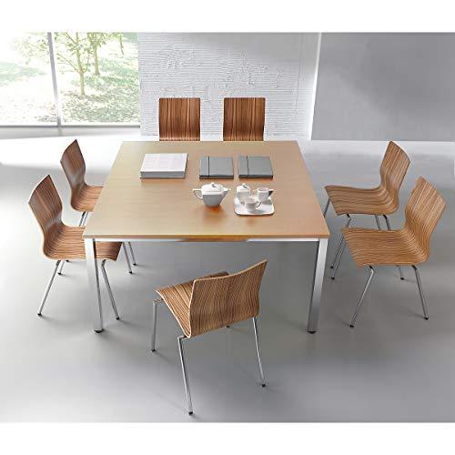 Konferenztisch, quadratisch - HxLxB 720 x 1400 x 1400 mm - Buche-Dekor