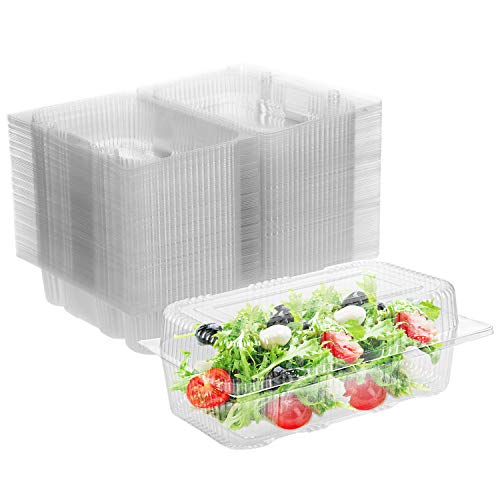 Karderon Disposable Plastic Hinged Food Container - 100 Pcs Clear Hinged Containers, 7.5' Length x 5' Width x 3' Depth