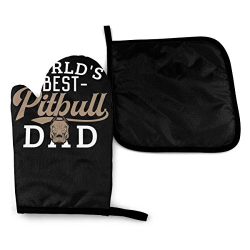 World'S Best American Pitbull Terrier Dog Dad Gift Microwave Oven Mitts And Pot Holders Cover Set Heat Insulation Blanket Mat Pad Mittens Glove Baking Pizza Barbecue Bbq Accessories Home Kitchen Decor