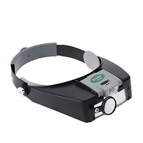 ProsKit MA-016 Personal Headband Magnifier 1.8X 2.6X 5.8X Glass Loupe,GOLDEN BLUE, with LED Light 3 Separated Lens Magnifying Tool