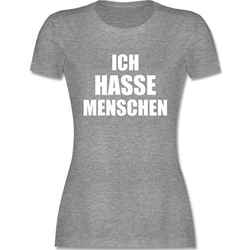Sprüche - Ich Hasse Menschen - L - Grau meliert - t Shirt ich Hasse Menschen - L191 - Tailliertes Tshirt für Damen und Frauen T-Shirt