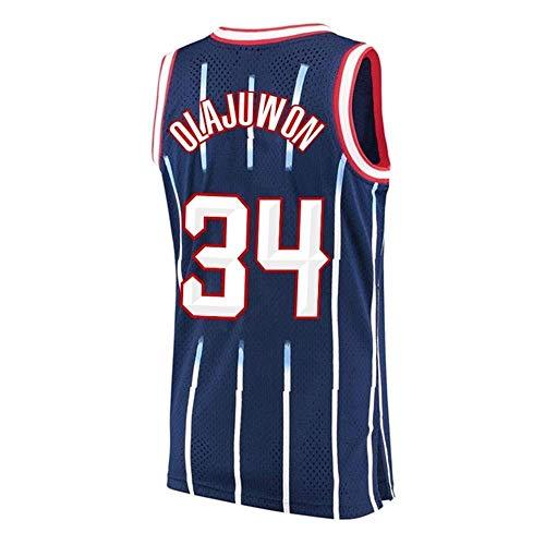 Camiseta para Hombre -Houston Rockets # 34 Hakeem Olajuwon Camiseta Sin Mangas Baloncesto para Fanáticos Camiseta Retro Malla Versión Transpirable,B,L175~180cm/75~85KG