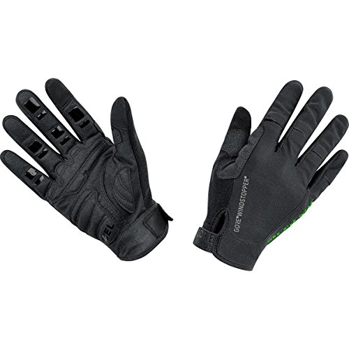 GORE BIKE Wear Guantes de Hombre para Mountainbike, Súper ligeros, GORE WINDSTOPPER, POWER TRAIL Light Gloves, Talla 8, Negro, GWLPOW990006