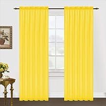Editex Home Textiles Monique Sheer Window Panel, Neon Yellow, 55 by 84-Inch