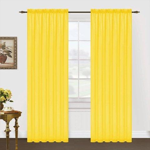 Editex Home Textiles Monique Sheer Window Panel, 55 by 84-Inch, Neon Yellow