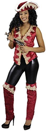 Piratenweste, Deluxe, rot mit Spitze, Größe 44-46