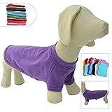 lovelonglong 2019 ropa de mascotas disfraces para perros Dachshund ropa en blanco camiseta camisetas para perros Dachshund, Corgi 100% algodón púrpura D-S