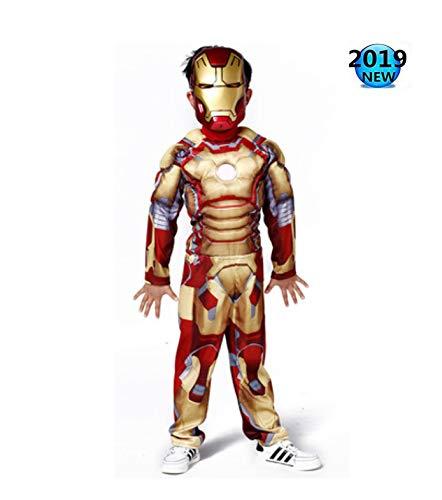 Halloween Spiderman kostuum kinderen Avengers Infinity Wars Iron Man spierkostuum Cosplay Avengers kleding mantel pak Small goud