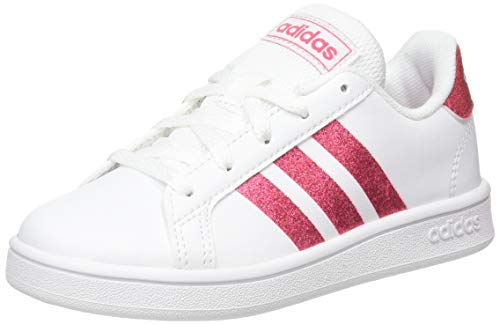 adidas Grand Court Sneaker, Cloud White/Real Pink/Cloud White, 33 EU