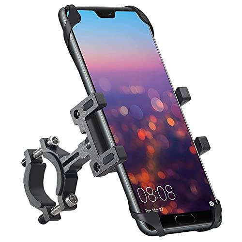 Tiakia 自転車 スマホ ホルダー バイク スタンド 原付 携帯ホルダー アルミニウム合金 スタンド オートバイ バイク スマートフォン振れ止め 脱落防止 GPSナビ 携帯 固定用 360度回転 に適用 ロードバイク クロス バイク すまほ ホルダー サイクリング バイク用 スマホ固定 に適用 iPhone 12 11 11Pro Max X XS Max 8 7 6S 6plus プロ マックス 10 galaxy s8 s9 HUWEI Mate P20 Pro P10 lite Sony Xperia Nexus android 4.7-7.2インチ 多機種対応