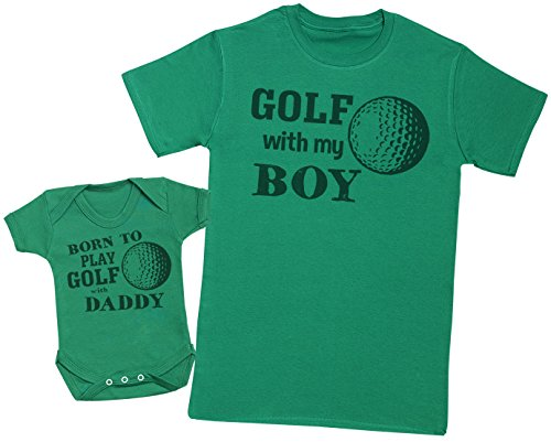 Zarlivia Clothing Born to Play Golf with Daddy - Ensemble Père Bébé Cadeau - Hommes T-Shirt & Body bébé - Vert - Large & 3-6 Mois