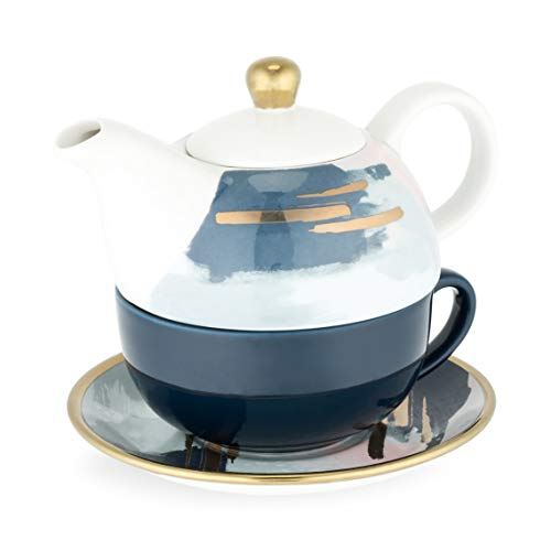 Product Image of the Addison Blue and Pink Abstract and Abstract Saucer Tea for O