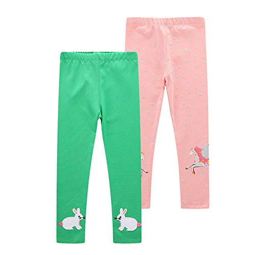 HILEELANG Girls 2 Pack Cotton Leggings Toddler Kids Baby Comfy Spring Summer Autumn Pants Tights Trousers 2-7 Years