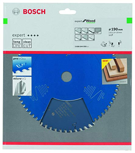 Bosch Professional Kreissägeblatt Expert für Wood (Holz, 190 x 30 x 2,6 mm, 56 Zähne, Zubehör Kreissäge)