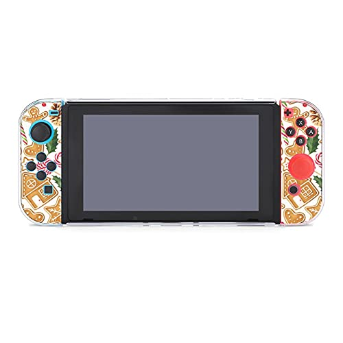 NONOCK Protective Case Cover for Nintendos Switchs,Christmas Food Gingerbreads Switchs Game Console Anti-Scratch Drop-Proof PC Five-Piece, Hard Shell Case Handheld Grip for Nintendos Switchs