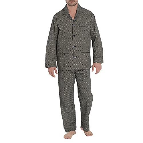 El Búho Nocturno - Pijama Hombre Largo Solapa Popelín Estampado Marino 100% algodón Talla 4 (L)
