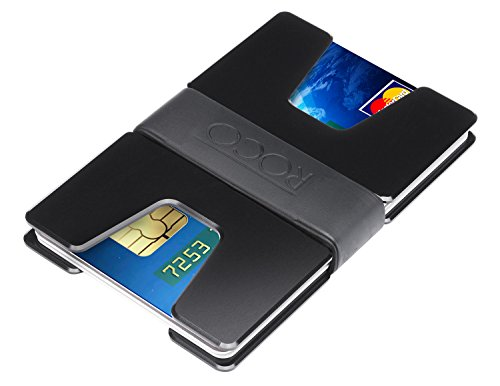 ROCO MINIMALIST Aluminum Slim Wallet RFID BLOCKING Money Clip - No.2 (U Black)