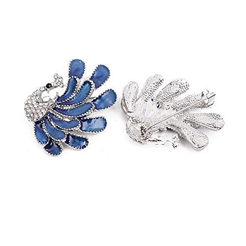 KAERMA - Broches de 3,5 x 3,6 cm, diseño de pavo real,...