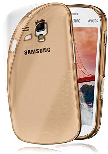 moex Aero Case kompatibel mit Samsung Galaxy S3 Mini - Hülle aus Silikon, komplett transparent, Klarsicht Handy Schutzhülle Ultra dünn, Handyhülle durchsichtig einfarbig, Gold
