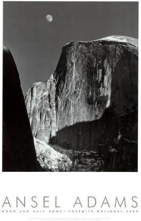 Moon and Half Dome Yosemite National Prin Park Art Austin Mall Poster 1960 Arlington Mall