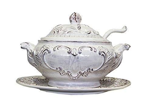 Zuppiera con Piatto in Ceramica Anticata Decorata a Mano Margherite 100% Made in Italy di Nostra Produzione Home Decor - Altezza cm 28 Diametro cm 40