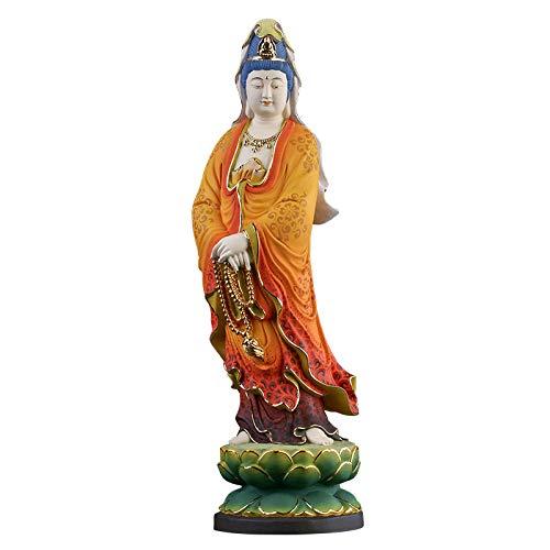 ZFLL Buddha Gemalte hölzerne Guanyin Buddha Statue goldene Holzschnitzerei handgemachte Skulptur Handwerk Ornamente Wohnkultur Guanyin Bodhisattva, 35cm