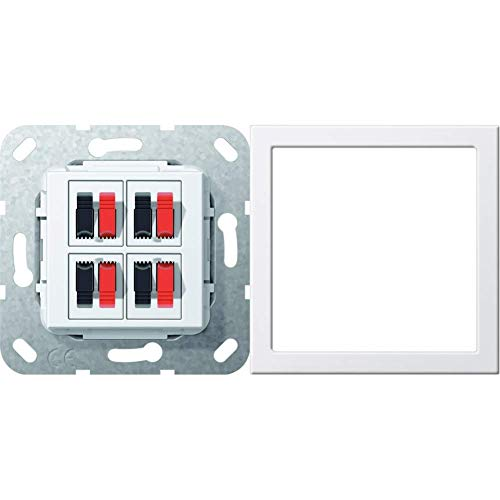 Gira 569403 Lautsprecher Anschluss 4 fach Einsatz, reinweiß & Montagerahmen bruchsicher ST55 reinweiß-glänzend, 264803